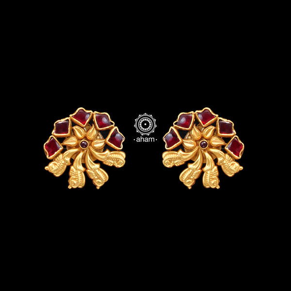 Handcrafted 92.5 Sterling Silver Gold Polish Earrings with Kundan. Perfect to Wear it to your cousins engagement party or friends engagement wedding