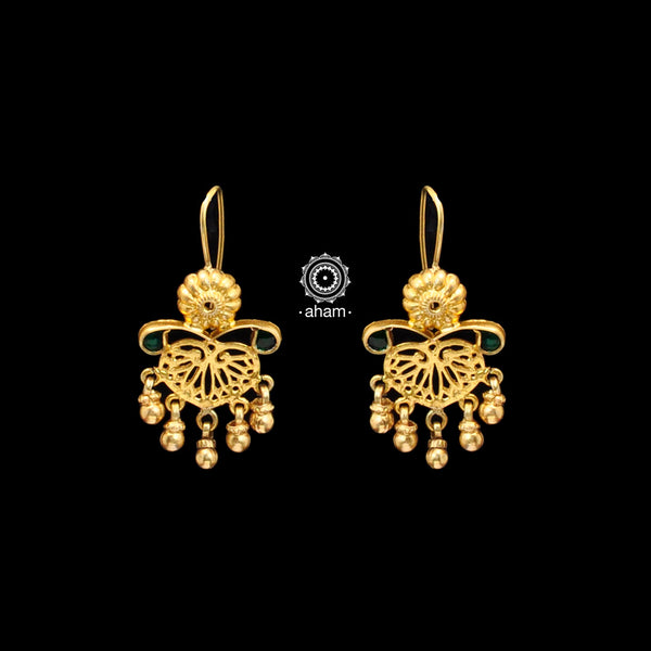 Feel like a modern day princess with these gold-dipped sterling silver(92.5%) earrings handcrafted using traditional methods.
