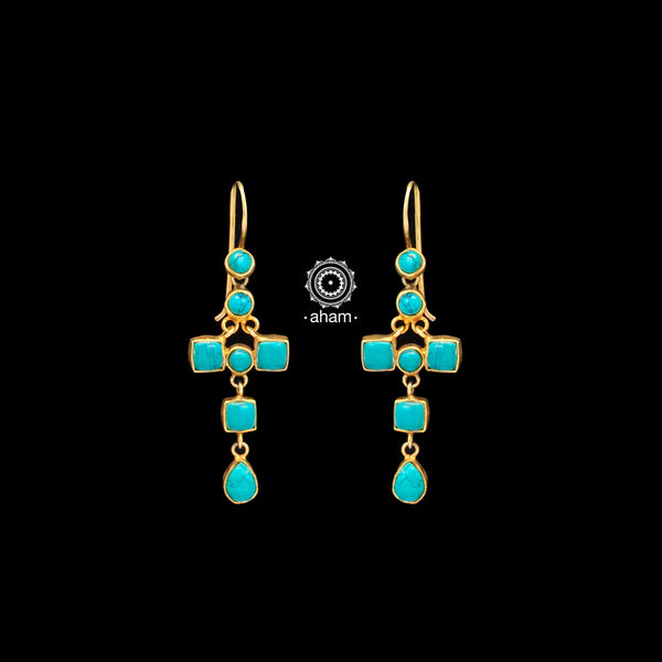 Classic silver gold polish (92.5)earrings. perfect for festivities.  With beautiful turquoise.