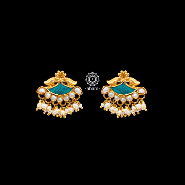 Classic silver gold polish earrings. perfect for festivities.  With beautiful turquoise and Pearl Highlight.