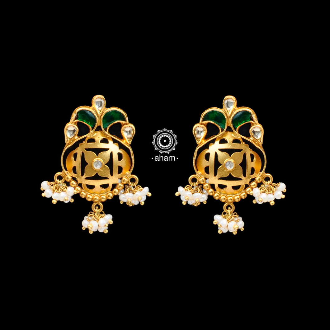 Handcrafted 92.5 Sterling Silver Gold Polish Earrings with Kundan Work. Perfect to wear it to your cousins engagement party or friends engagement wedding.