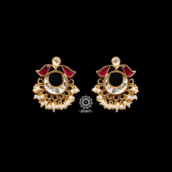 Handcrafted 92.5 Sterling Silver Gold Polish Earrings with Kundan and Pearl Work. Perfect to Wear it to your cousins engagement party or friends engagement wedding.