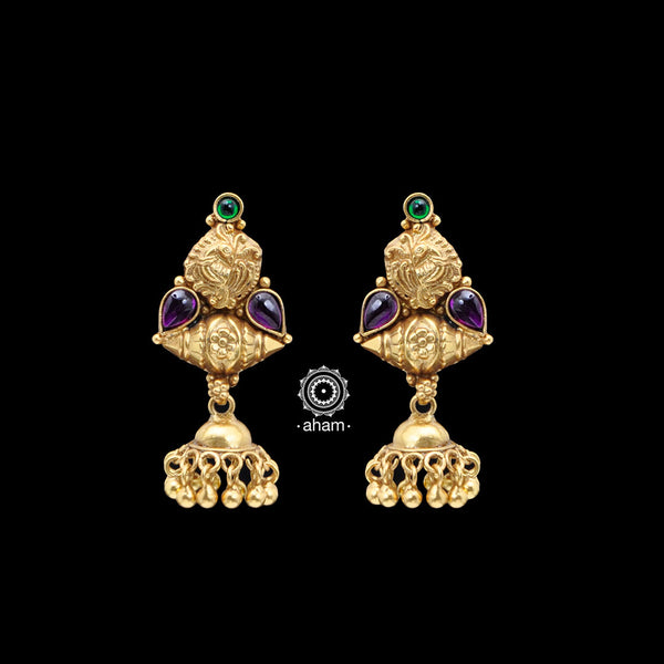 Traditional South Indian Style Gold Polish earrings. Light and easy to wear.