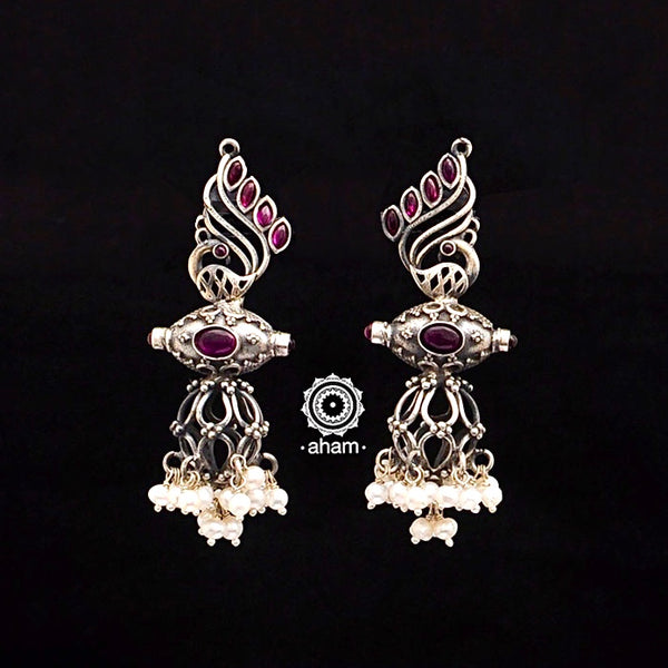 Aham Silver handcrafted one of a kind earring india