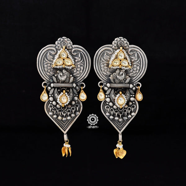 One of a kind statement wearable art pieces in Sterling 92.5 silver with gold polish highlights, kundan and pearl work