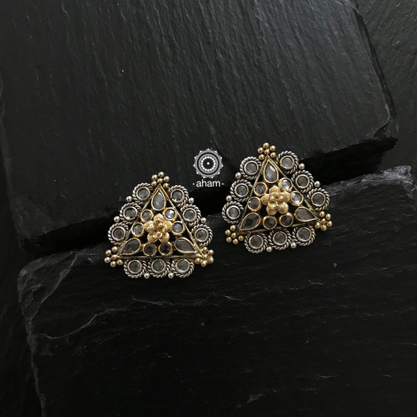 Zircon two tone earring