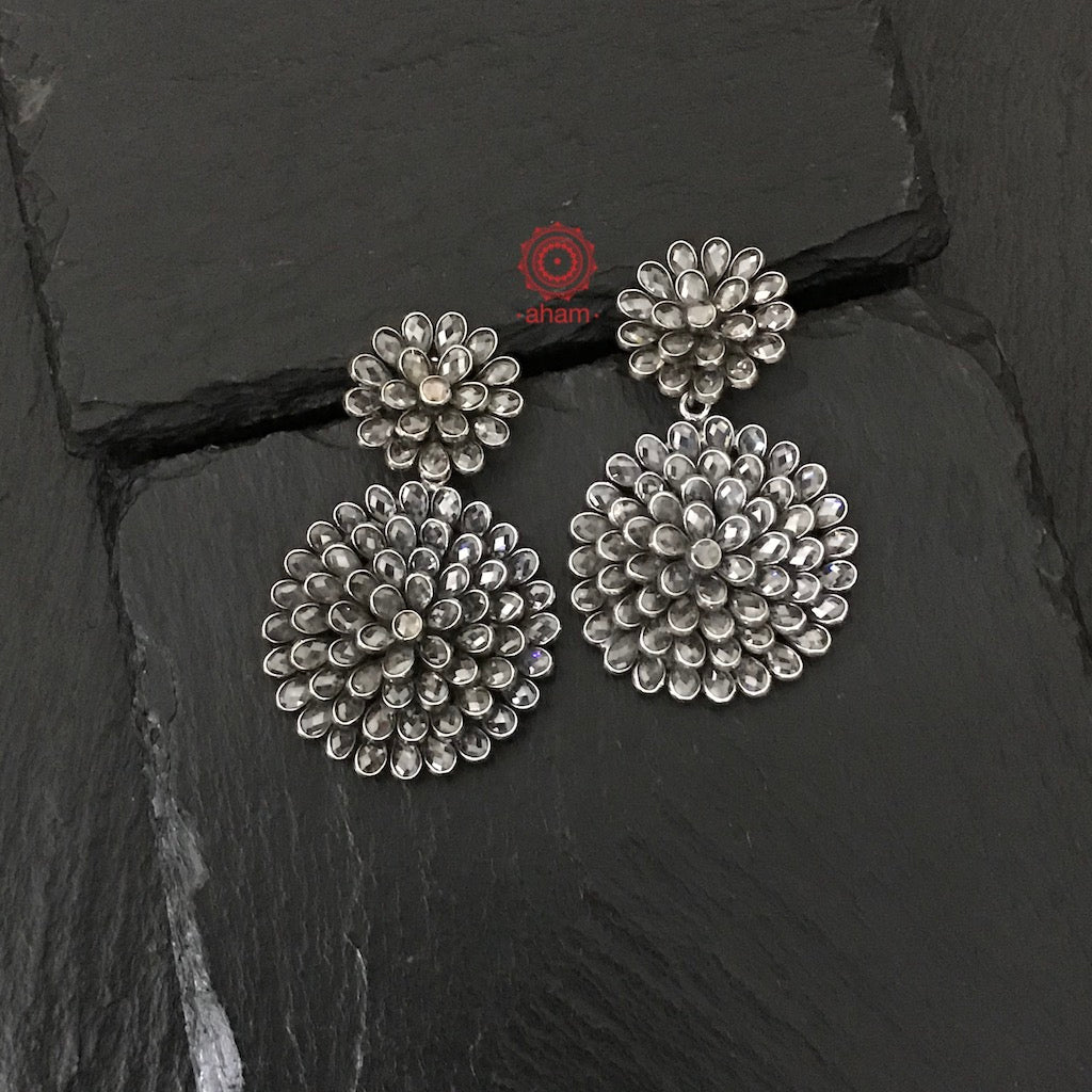 92.5 Silver Zircon Earring handcrafted in classic multi layer flower design. Wear them effortlessly with your work wear for a Zoom meeting or for a Zoom engagement party, they will compliment your outfit anywhere.