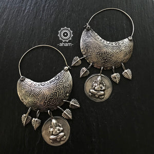 Big Statement Ganesha Silver Hoops