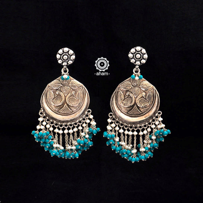 Ruhi Silver Turquoise Peacock Earrings