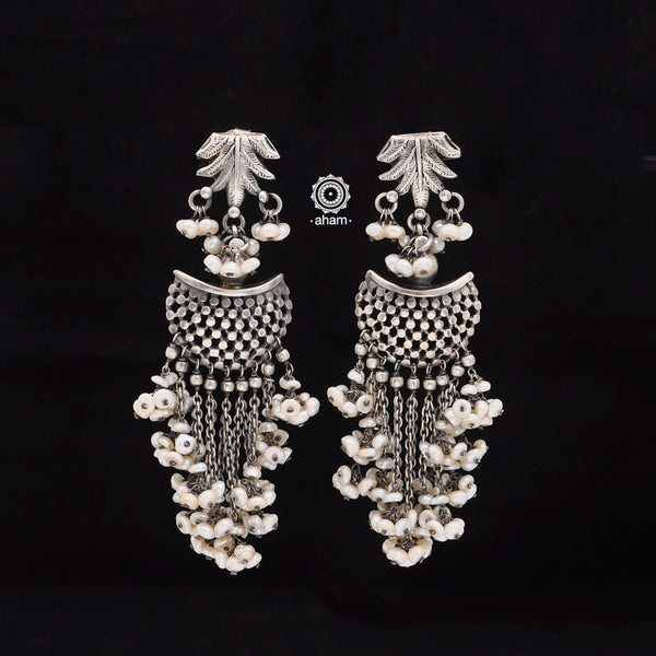 Beaded Beauty! 92.5 Sterling Silver Ruhi Weave Earring with Fresh Water Pearls