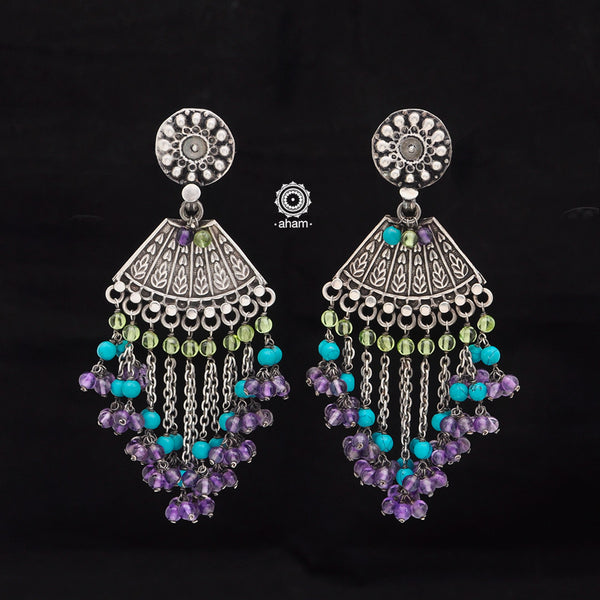 Beaded Beauty! 92.5 Sterling Silver Ruhi Earring with Turquoise and semi precious stone setting