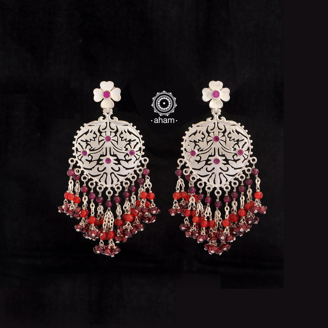Beaded Beauty! 92.5 Sterling Silver Ruhi cut work Earring with semi precious stones