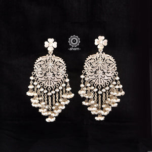 Beaded Beauty! 92.5 Sterling Silver Ruhi cut work Earring with fresh water pearls