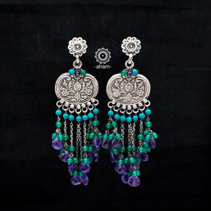 Beaded Beauty! 92.5 Sterling Silver Ruhi Earring with semi precious stone setting