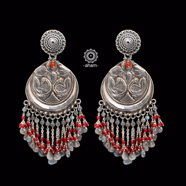 Beaded Beauty! 92.5 Sterling Silver Ruhi Earring with semi precious stone setting.