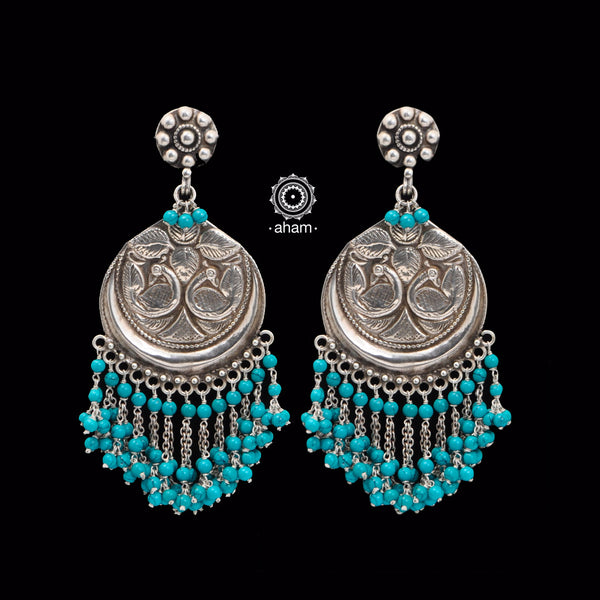 Beaded Beauty! 92.5 Sterling Silver Ruhi Earring with Turquoise Stones.