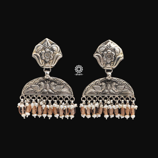 Ruhi Peacock Silver Earrings