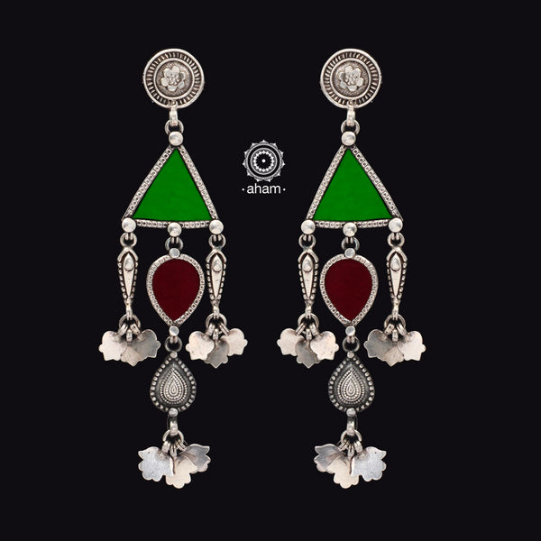 Green and Maroon Rang Mahal Silver Earring