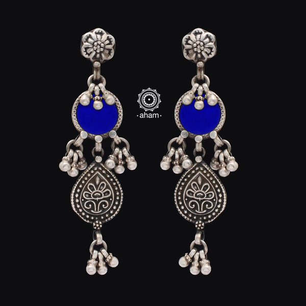 92.5 Sterling Silver Rang Mahal Earrings. The magic that happens when coloured glass and silver come together.