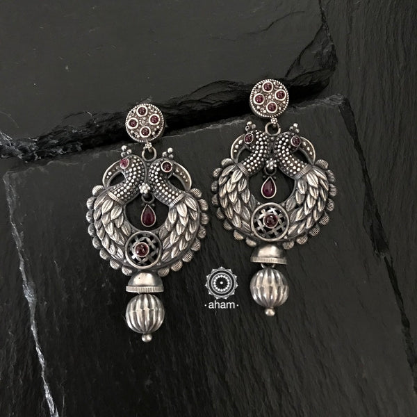 Handcrafted Silver Earrings.  With Double peacock motif