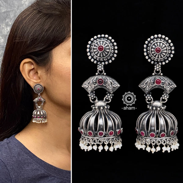Shivneri Three Layer Silver Jhumkie