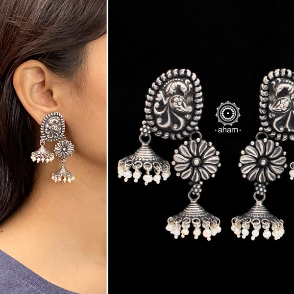 Shivneri Peacock and Flower Silver Jhumkie