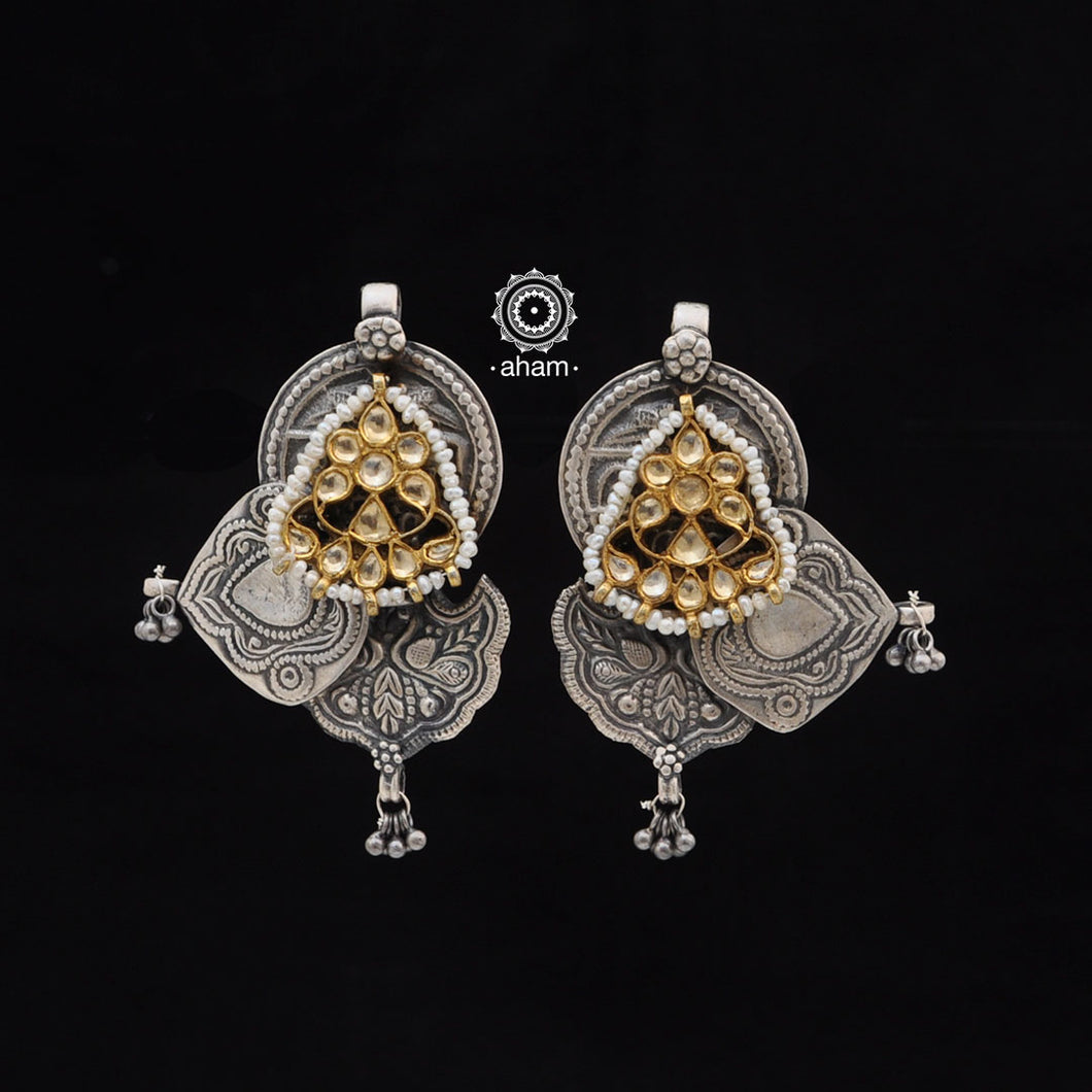 One of a kind statement wearable art pieces in Sterling 92.5 silver with kundan gold polish highlights and pearl work