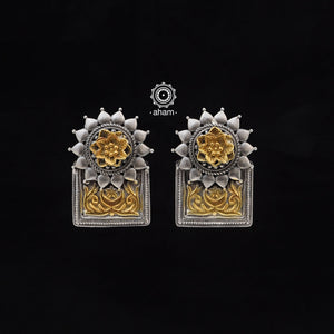 One of a kind statement wearable art pieces. Earrings in Sterling 92.5 silver with two tone gold polish