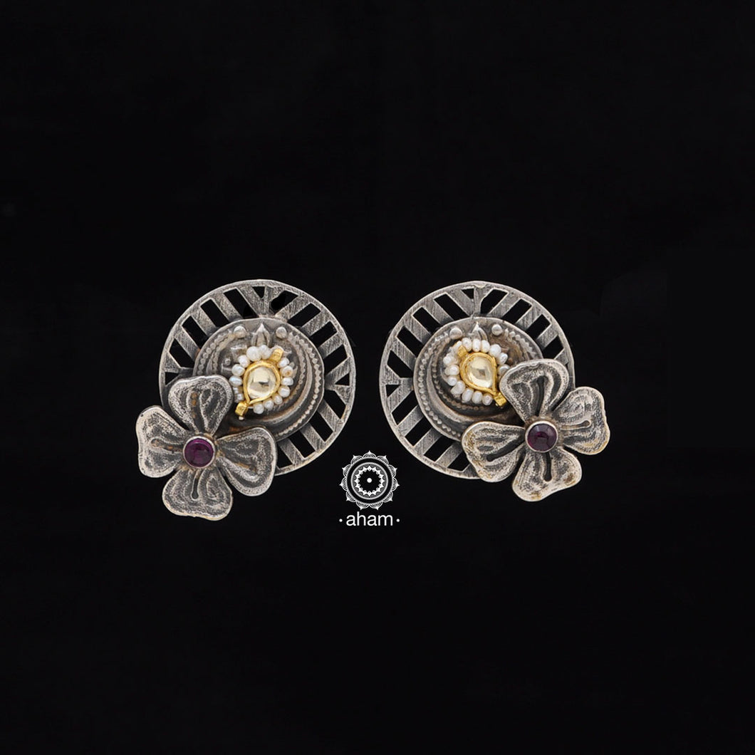 One of a kind statement wearable art pieces. Earrings in Sterling 92.5 silver with two tone gold kundan work.