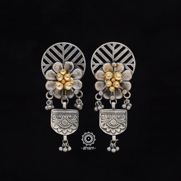 One of a kind statement wearable art pieces. Earrings in Sterling 92.5 silver with two tone gold kundan work