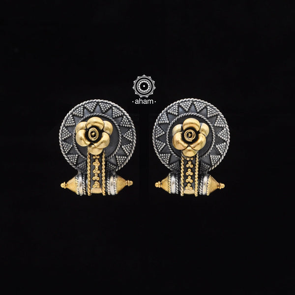 One of a kind statement wearable art pieces.  Inspired from traditional Kutchi Akota Earring  Earrings in Sterling 92.5 silver with two tone gold polish work.