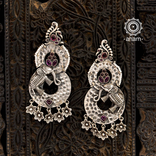 Malhar Silver Elephant Earrings