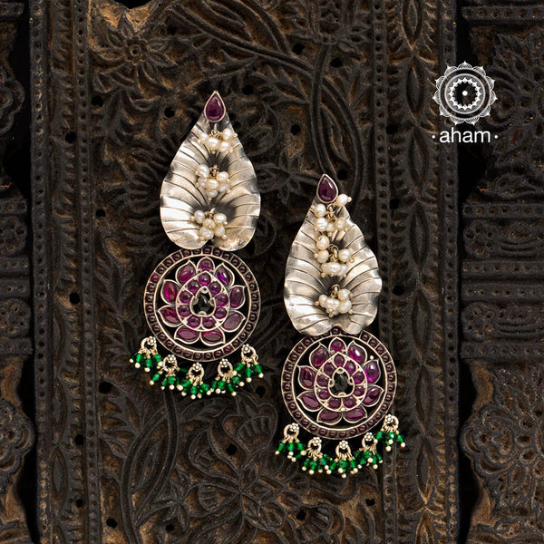 Malhar Silver Lotus Earrings