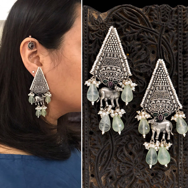 Malhar Silver Aham Earrings
