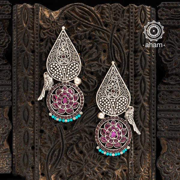 Malhar Silver Lotus & Bird Earring