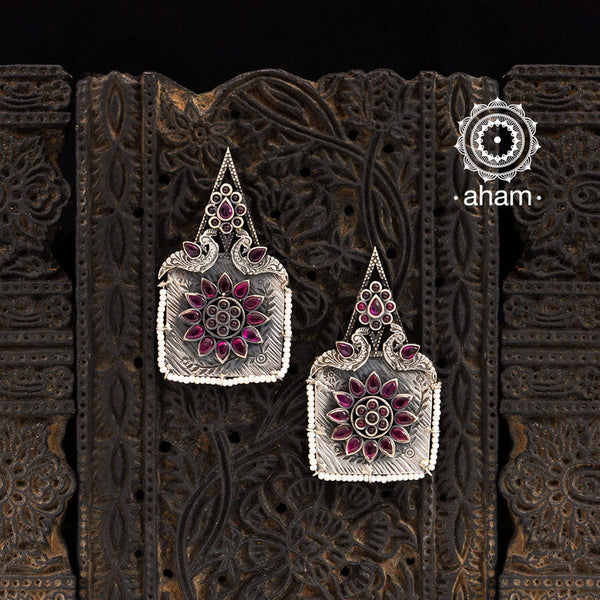 Malhar Silver Square shaped Earrings