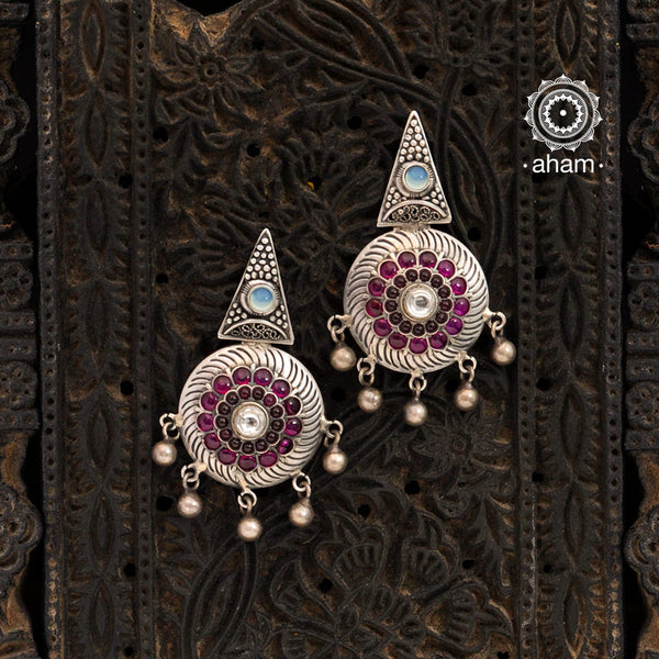 Malhar Silver Dome Earrings