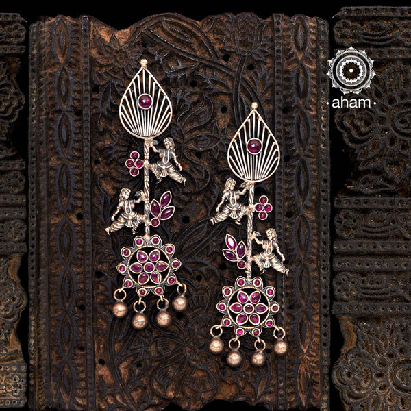 Malhar Dancing Apsara Silver Earrings
