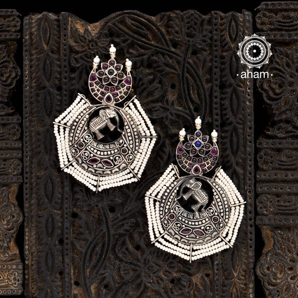 Malhar Elephant Silver Earrings
