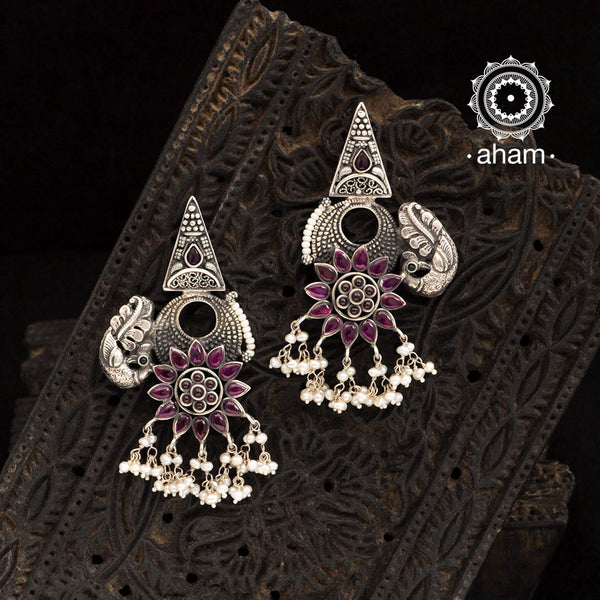Malhar Kemp Flower Silver Earrings