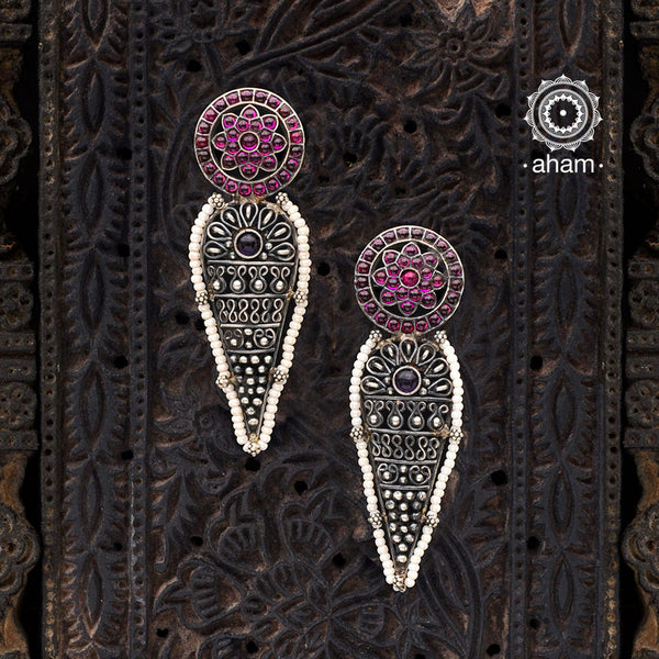 Malhar Drop Kemp Flower Silver Earrings