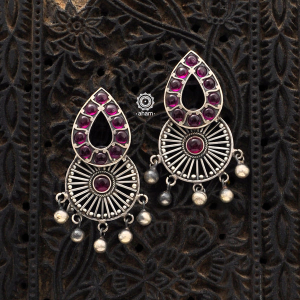 Handcrafted 92.5 sterling Silver earring from our Malhar collection.  hand silver work, with kemp stone highlights