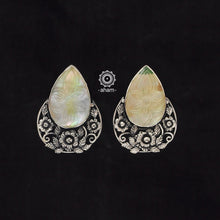 Beautiful one of kind Silver earring with semi precious stone.