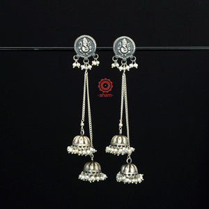 Ganesha Statement Long Pearl Jhumki Earring