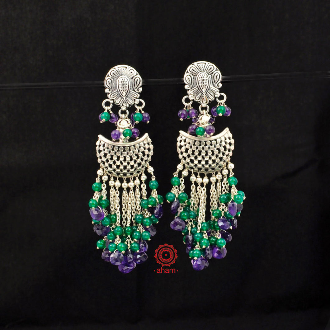 Ruhi Green & Purple Weave Earrings