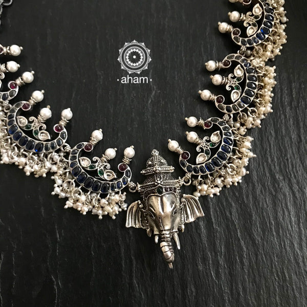 Silver Ganesha Neckpiece with Blue Stones and Pearls