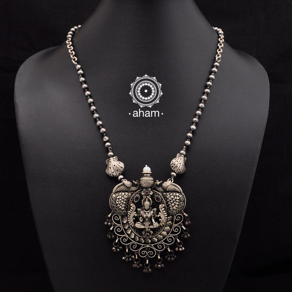 Beautiful Lakshmi 3 D Neckpiece in 92.5 silver with intricate handwork.  Temple jewellery.