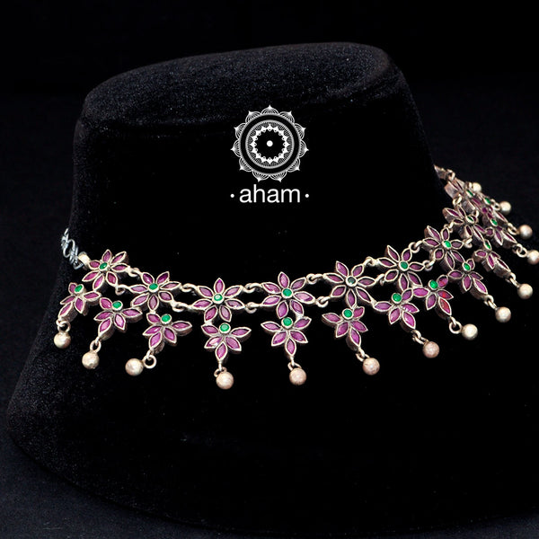 92.5 Sterling Silver neckpiece.  Beautifully cut maroon flowers with green stone highlights.  works great with all Indian wear.