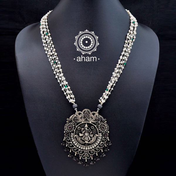 Beautiful Ganesha 3 D Neckpiece in 92.5 silver with intricate handwork.  Temple jewellery.