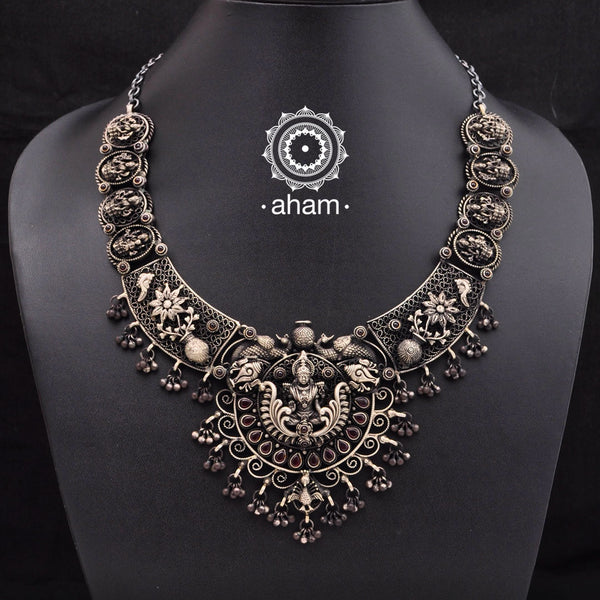 Beautiful 3D, sterling Silver neckpiece depicting goddess Lakshmi. This one of a kind neckpiece is an heirloom piece that you will cherish to wear.